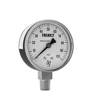 0-100psi TRERICE 2-1/2inch LIQUID FILLED DIAL 1/4i