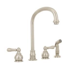 American Standard 4751.732 Hampton? Brass 2-Lever Swivel Kitchen Faucet, PVD Satin Nickel
