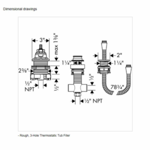 04124181 HANSGROHE ROUGH FOR THREE HOLE THERMOSTAT